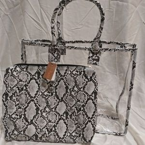 Snake Print and Translucent Bag Set